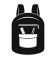 college backpack icon simple style vector image vector image