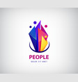 creative team logo colorful abstract people vector image vector image