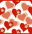 decorative hearts seamless pattern valentines day vector image