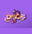 disco music style papercut musical icon quote vector image vector image