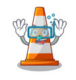 diving traffic cone on made in cartoon vector image vector image