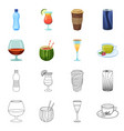 drink and bar icon set of vector image