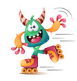 faunny cute crazy monscter characters roller vector image