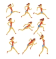 Female Sportswoman Running The Track With vector image
