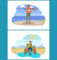 fisherman fishing from platform and from bank vector image vector image