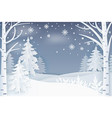 forest with snowflakes and hills at night vector image