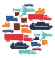 Freight cargo transport icons background in flat vector image