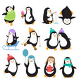 funny christmas penguins characters vector image vector image
