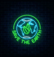 glowing neon sign of world earth day with leaves vector image vector image