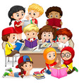 group of international children learning vector image vector image