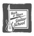 guitar school grunge logo design vector image vector image
