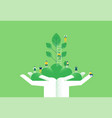 hands with green plant and people for nature help vector image vector image