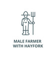 male farmer with hayfork line icon linear vector image vector image