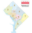 map eight districts washington dc vector image
