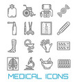 medicine healthcare and pharmacy thin line icons vector image vector image