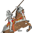 medieval knight in armor on horseback vector image vector image