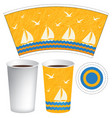 paper cup template with sailboats in the sea vector image vector image