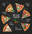 pizza slices blackboard pizzeria menu colorful vector image vector image