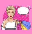pop art surprised girl holding shopping bags vector image vector image