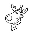 reindeer head in santa hat outline on white vector image vector image