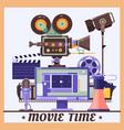 retro cinema concept poster with megaphone lamp vector image