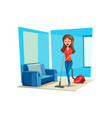 room cleaning woman in house poster vector image vector image