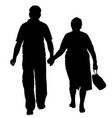 seniors couple hold hands silhouette vector image vector image