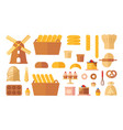 set flat bakery icons vector image vector image