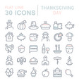 set line icons thanksgiving day vector image vector image