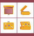 set retro suitcases different angles memories vector image vector image