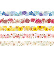 set seamless watercolor floral borders vector image vector image