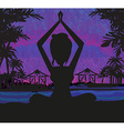 Silhouette woman practicing yoga on the beach at vector image