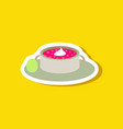 sweet dessert in paper sticker bread-soup with vector image