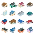Town house cottage set isometric 3d style vector image vector image