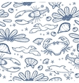 Underwater engraving tropic life seamless pattern vector image vector image