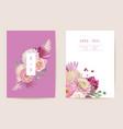 wedding rose dahlia floral invitation dry vector image vector image