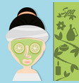 woman with cucumber mask and herbal medicine vector image