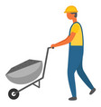 workers working with carriage building material vector image vector image