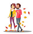 young couple in love walking among falling autumn vector image