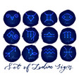 zodiac signs in neon glowing style vector image