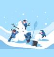 children build snowman in winter vector image