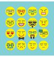 cute colorful circle emoticons set vector image