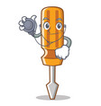 doctor screwdriver character cartoon style vector image