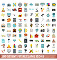 100 scientific reclame icons set flat style vector image vector image