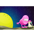 A pink beanie monster pacifying the cat in the vector image vector image