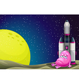 A sad monster beside the rocket in the outerspace vector image vector image