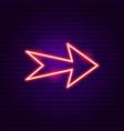arrow neon label vector image vector image