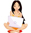 Asian girl with laptop vector | Price: 3 Credits (USD $3)