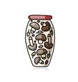 Bank of pickled mashrooms sketch for your design vector image vector image