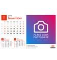 calendar for november 2019 design print template vector image vector image